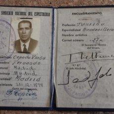 Documentos antiguos: CARNET. SINDICATO NACIONAL DEL ESPECTÁCULO. FERNANDO CEPEDA VIAÑA. Nº 27. PROFESIÓN: BANDERILLERO.. Lote 195201138