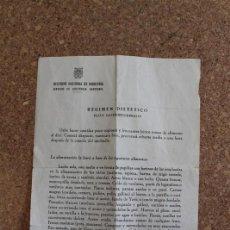 Documentos antiguos: INSTITUTO NACIONAL INDUSTRIA SERVICIO ASISTENCIA SANITARIA RÉGIMEN DIETÉTICO. ULCUS GASTRODUODENALES. Lote 195204531