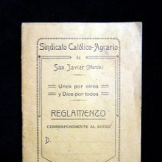 Documentos antiguos: SINDICATO CATÓLICO-AGRARIO DE SAN JAVIER (MURCIA). REGLAMENTO SOCIO 1919. Lote 195237278