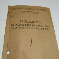 Documentos antiguos: REGLAMENTO ALQUILERES VIVIENDAS RENFE. Lote 195240600