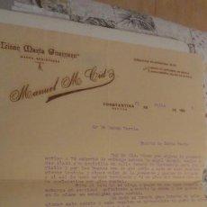 Documentos antiguos: ANTIGUA CARTA.LICOR MARIA GUERRERO.MANUEL M.CID. CONSTANTINA.SEVILLA 1925.. Lote 195254797