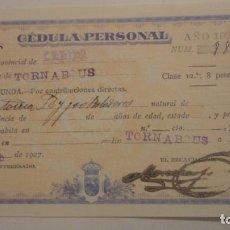 Documentos antiguos: ANTIGUA CELULA PERSONAL.ANTONIA FEYJOO BOLADERES.TORNABOUS.LERIDA 1927. Lote 195265496