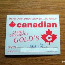 Documentos antiguos: CARNET DE DESCUENTO GOLD´S TIENDA VIDEOJUEGOS CANADIAN AÑOS 90. Lote 195267956