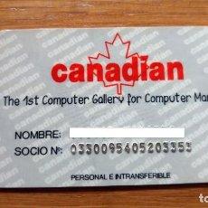 Documentos antiguos: CARNET SOCIO TIENDA VIDEOJUEGOS AÑOS 90 CANADIAN. Lote 195272712