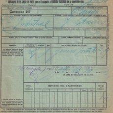 Documentos antiguos: CARTA DE PORTE PARA EL TRANSPORTE POR TREN. CAMINOS DE HIERRO DEL NORTE. ZARAGOZA- BURGOS AÑO 1930. Lote 195297320