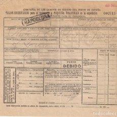 Documentos antiguos: CARTA DE PORTE PARA EL TRANSPORTE POR TREN. CAMINOS DE HIERRO DEL NORTE. ZARAGOZA- BURGOS AÑO 1930. Lote 195297746
