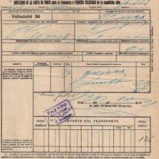 Documentos antiguos: CARTA DE PORTE PARA EL TRANSPORTE POR TREN. CAMINOS DE HIERRO DEL NORTE. VALLADOLID- BURGOS AÑO 1930. Lote 195298025