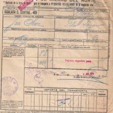 Documentos antiguos: CARTA DE PORTE PARA EL TRANSPORTE POR TREN. CAMINOS DE HIERRO DEL NORTE. IGUALADA- BURGOS AÑO 1930. Lote 195298206