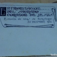 Documentos antiguos: PROGRAMA ENTRONIZACIÓN DEL SAGRADO CORAZÓN DE JESÚS ESCUELAS DE NIÑAS DE BERÁSTEGUI BILBAO 1922. Lote 195298876