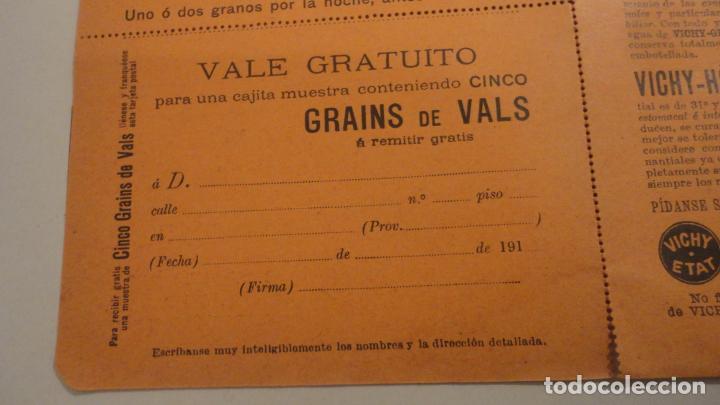 Documentos antiguos: ANTIGUO VALE GRATUITO. GRAINS DE VALS.ESTREÑIMIENTO. VICHY-ETAT PRINCIPIOS DEL XX. - Foto 4 - 195330866