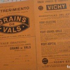 Documentos antiguos: ANTIGUO VALE GRATUITO. GRAINS DE VALS.ESTREÑIMIENTO. VICHY-ETAT PRINCIPIOS DEL XX.. Lote 195330866