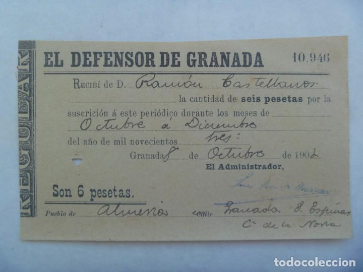 EL DEFENSOR DE GRANADA : RECIBO DE SUSCRIPTOR, PUEBLO DE ALMENA 1903 (Coleccionismo - Documentos - Otros documentos)