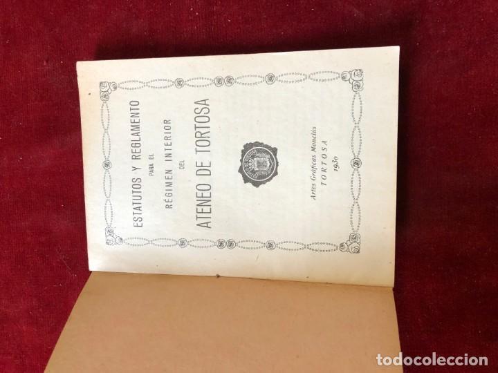 Documentos antiguos: ESTATUTOS Y REGLAMENTO DEL ATENEO DE TORTOSA 1930 - Foto 2 - 195340676