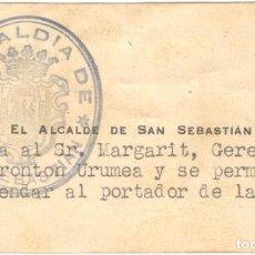 Documentos antiguos: TARJETA DE RECOMENDACIÓN DEL ALCALDE DE SAN SEBASTIÁN - GERENTE FRONTÓN URUMEA - AÑO 1939. Lote 195341125