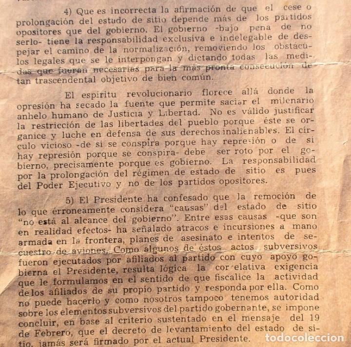 Documentos antiguos: PARAGUAY DOCUMENTO MENSAJE CONTRA STROESSNER 1962 PARTIDO LIBERAL Y REVOLUCIONARIO FEBRERISTA - Foto 2 - 195344842
