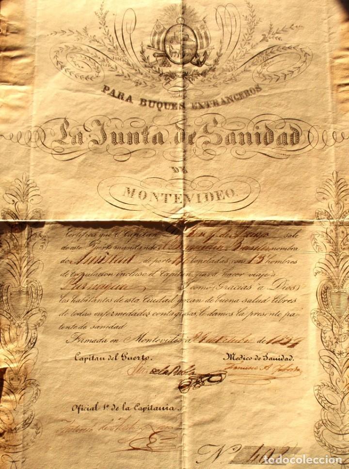 DOCUMENTO FIRMADO POR EL CAPITAN DEL PUERTO DE MONTEVIDEO EN 1839 LUIS DE LA ROBLA MILITAR REALISTA (Coleccionismo - Documentos - Otros documentos)