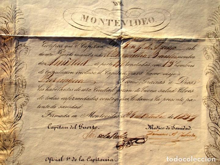 Documentos antiguos: DOCUMENTO FIRMADO POR EL CAPITAN DEL PUERTO DE MONTEVIDEO EN 1839 LUIS DE LA ROBLA MILITAR REALISTA - Foto 2 - 195345275
