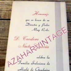 Documentos antiguos: ALCALA DE GUADAIRA, 1966, PROGRAMA ACTOS HOMENAJE SALESIANO TEODORO NIETO GARCIA. Lote 195370300