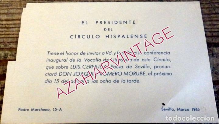 SEVILLA, 1965, CIRCULO HISPALENSE, INVITACIO CONFERENCIA SOBRE CERNUDA, JOAQUIN ROMERO MURUBE (Coleccionismo - Documentos - Otros documentos)