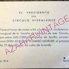 Documentos antiguos: SEVILLA, 1965, CIRCULO HISPALENSE, INVITACIO CONFERENCIA SOBRE CERNUDA, JOAQUIN ROMERO MURUBE. Lote 195370500