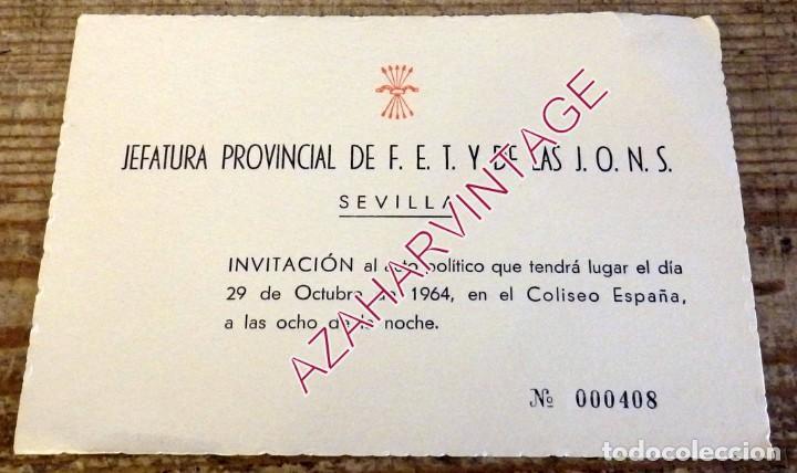 SEVILLA, 1964, INVITACION ACTO POLITICO DE FALANGE (Coleccionismo - Documentos - Otros documentos)