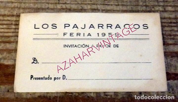 SEVILLA, 1959, INVITACION CASETA DE FERIA LOS PAJARRACOS (Coleccionismo - Documentos - Otros documentos)