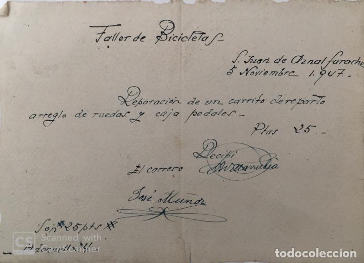 DOCUMENTO TALLER DE BICICLETAS DE SAN JUAN DE AZNALFARACHE ( SEVILLA ) AÑO 1947 (Coleccionismo - Documentos - Otros documentos)