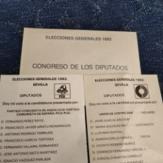 Documentos antiguos: SOBRE LACRADO CON PAPELETA + PAPELETAS PCA + UCD - ELECCIONES GENERALES 1982 CONGRESO DE LOS DIPUTAD. Lote 195379832