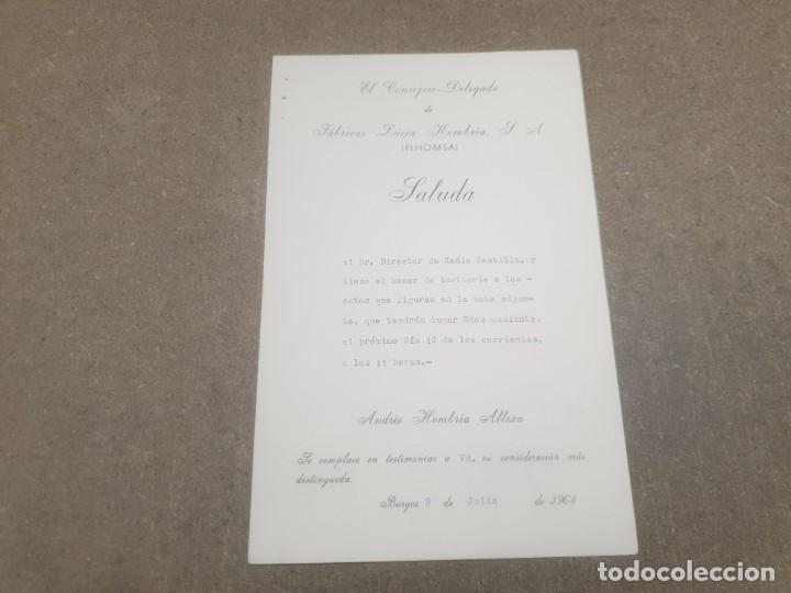 SALUDA DE FABRICAS LUCIA HOMBRIA .. BURGOS AL DIRECTOR DE RADIO CASTILLA.....1964.... (Coleccionismo - Documentos - Otros documentos)