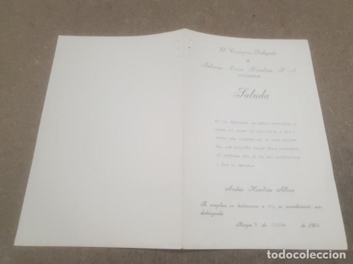 Documentos antiguos: SALUDA DE FABRICAS LUCIA HOMBRIA .. BURGOS AL DIRECTOR DE RADIO CASTILLA.....1964.... - Foto 2 - 195380392