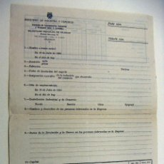 Documentos antiguos: DOCUMENTO MINISTERIO DE INDUSTRIA Y COMERCIO DE VALENCIA 1936 SIN USAR NUEVO. Lote 195381817