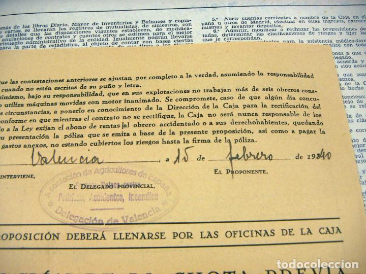 Documentos antiguos: POLIZA CAJA DE SEGUROS MUTUOS DELEGACION DE VALENCIA 1940 - Foto 2 - 195382307