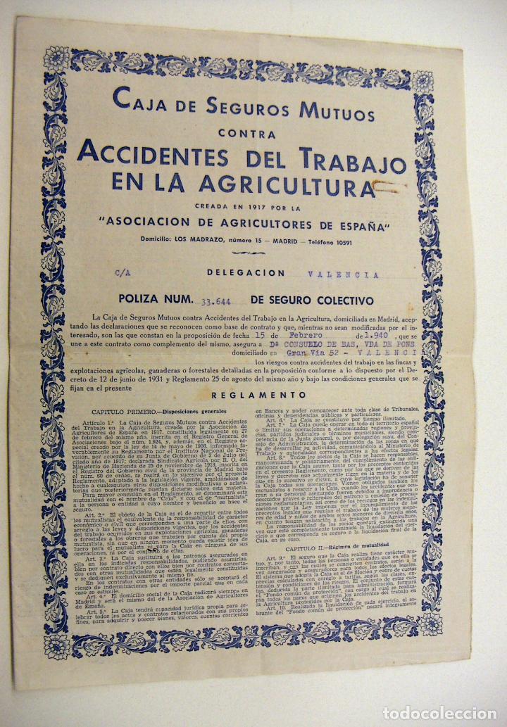 POLIZA CAJA DE SEGUROS MUTUOS DELEGACION DE VALENCIA 1940 (Coleccionismo - Documentos - Otros documentos)