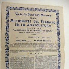 Documentos antiguos: POLIZA CAJA DE SEGUROS MUTUOS DELEGACION DE VALENCIA 1940. Lote 195382307