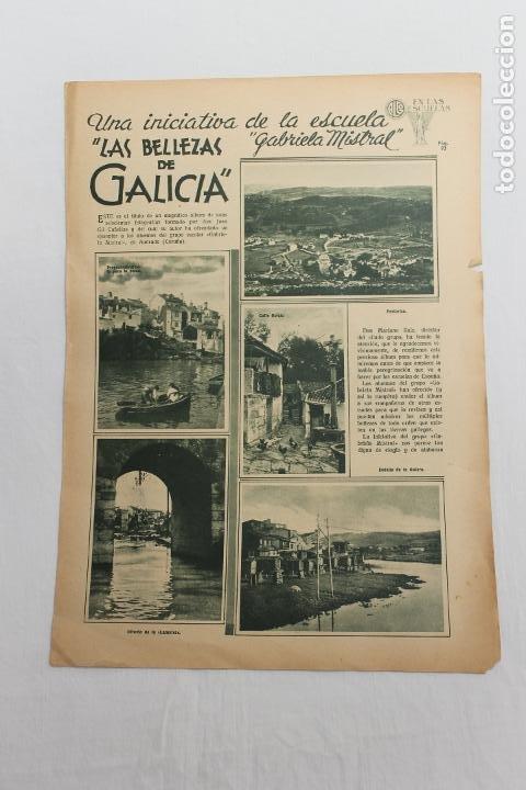 EN LAS ESCUELAS, LS BELLEZAS DE GALICIA, 1936 UNA INICIATIVA ESCUELA GABRIELA MISTRAL (Coleccionismo - Documentos - Otros documentos)