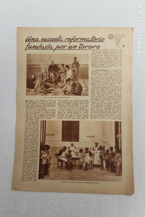 EN LAS ESCUELAS, VALENCIA, ESCUELA REFORMATORIO FUNDADA POR UN TORERO, 1936 (Coleccionismo - Documentos - Otros documentos)