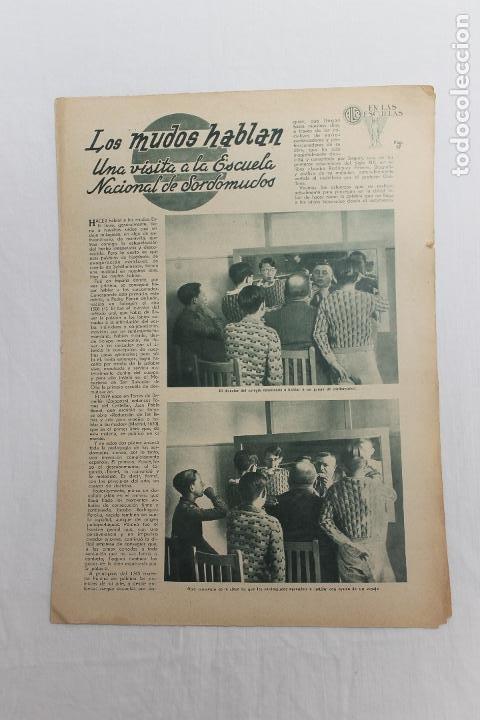 EN LAS ESCUELAS, LOS MUDOS HABLAN, UNA VISITA A LA ESCUELA NACIONAL DE SORDOMUDOS 1936 (Coleccionismo - Documentos - Otros documentos)