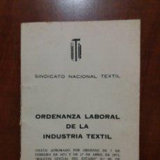 Documentos antiguos: ORDENACIÓN LABORAL DE LA INDUSTRIA TEXTIL.1972. Lote 195387431