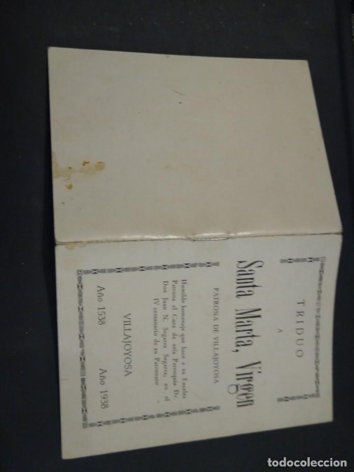 TRIDUO A SANTA MARTA VIRGEN. PATRONA DE VILLAJOYOSA. 1938. ALICANTE (Coleccionismo - Documentos - Otros documentos)
