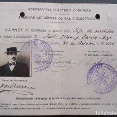 Documentos antiguos: GALICIA.CORUÑA.'COOP.ELECTRICA CORUÑESA Y FCA.CORUÑESA GAS Y ELECTRICIDAD'TARJETA IDENTIDAD 1921. Lote 195408153