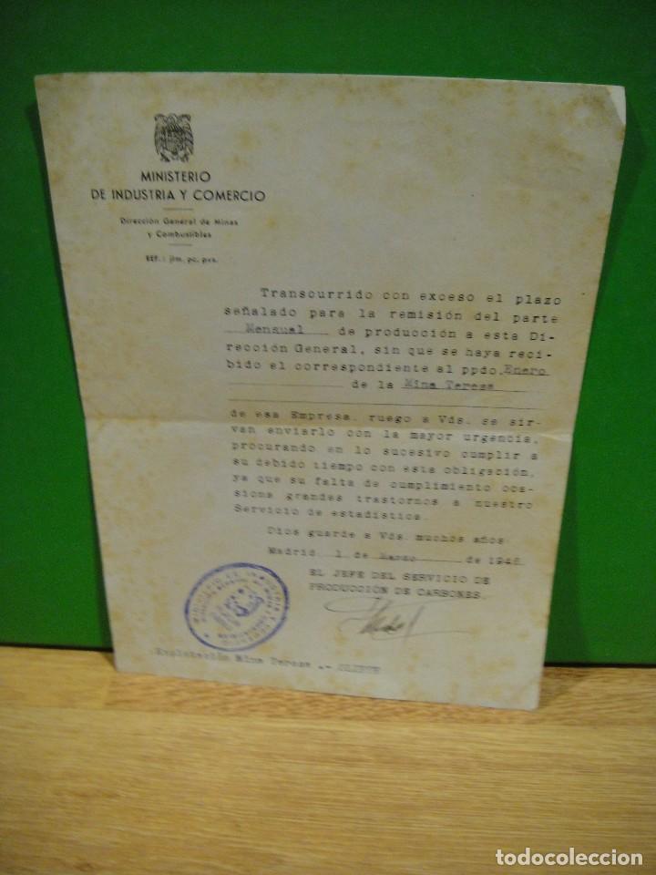 ESCRITO DEL MINISTERIO DE INDUSTRIA , PRODUCCION DE CARBONES - MINA TERESA - OLIETE AÑO 1946 (Coleccionismo - Documentos - Otros documentos)