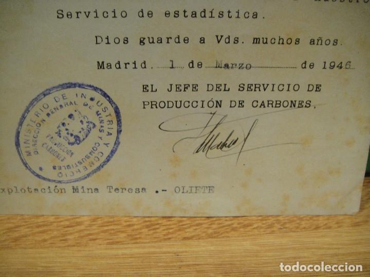 Documentos antiguos: escrito del ministerio de industria , produccion de carbones - mina teresa - oliete año 1946 - Foto 2 - 195427882