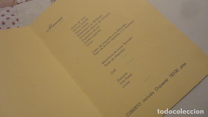 Documentos antiguos: TARJETA-MENU.COMIDA HONOR FERNANDO G.DE BLANES CONTRERAS.COPA ESPAÑA.TIRO PICHON.MERIDA 1959 - Foto 3 - 195430815