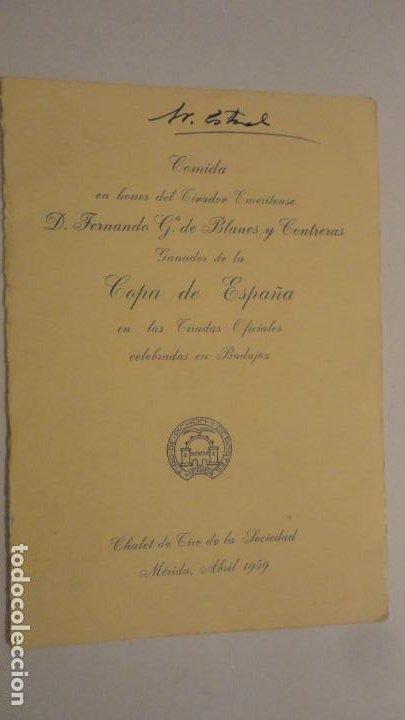 TARJETA-MENU.COMIDA HONOR FERNANDO G.DE BLANES CONTRERAS.COPA ESPAÑA.TIRO PICHON.MERIDA 1959 (Coleccionismo - Documentos - Otros documentos)