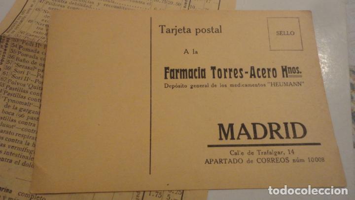 Documentos antiguos: ANTIGUA TARJETA POSTAL Y LISTADO DE PRECIOS.FARMACIA TORRES-ACERO HNOS.MEDICAMENTOS HEUMANN.MADRID - Foto 2 - 195431368