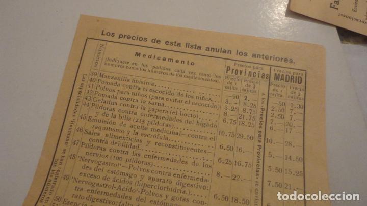 Documentos antiguos: ANTIGUA TARJETA POSTAL Y LISTADO DE PRECIOS.FARMACIA TORRES-ACERO HNOS.MEDICAMENTOS HEUMANN.MADRID - Foto 4 - 195431368
