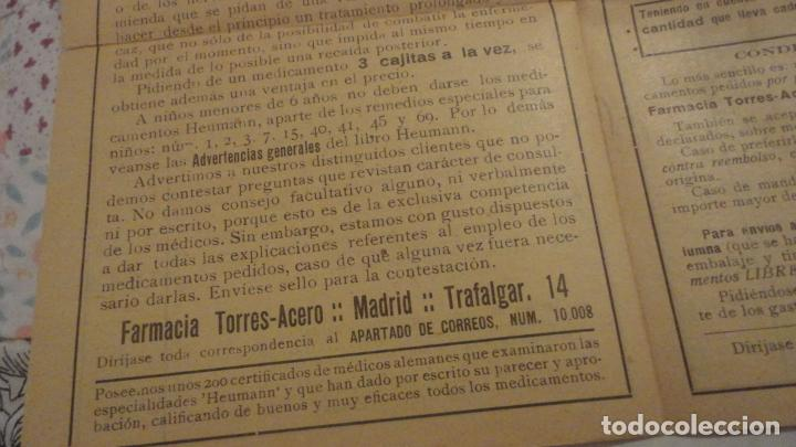 Documentos antiguos: ANTIGUA TARJETA POSTAL Y LISTADO DE PRECIOS.FARMACIA TORRES-ACERO HNOS.MEDICAMENTOS HEUMANN.MADRID - Foto 5 - 195431368