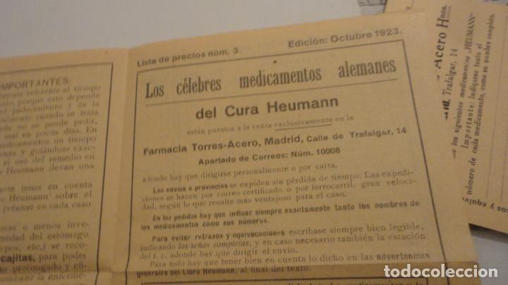 Documentos antiguos: ANTIGUA TARJETA POSTAL Y LISTADO DE PRECIOS.FARMACIA TORRES-ACERO HNOS.MEDICAMENTOS HEUMANN.MADRID - Foto 6 - 195431368
