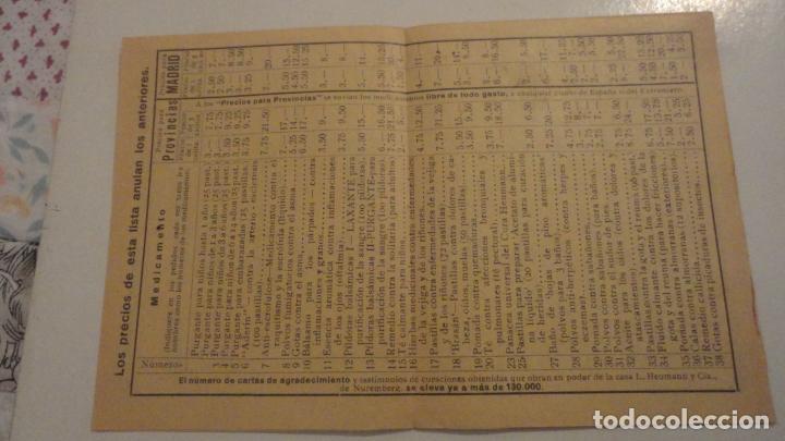 Documentos antiguos: ANTIGUA TARJETA POSTAL Y LISTADO DE PRECIOS.FARMACIA TORRES-ACERO HNOS.MEDICAMENTOS HEUMANN.MADRID - Foto 7 - 195431368