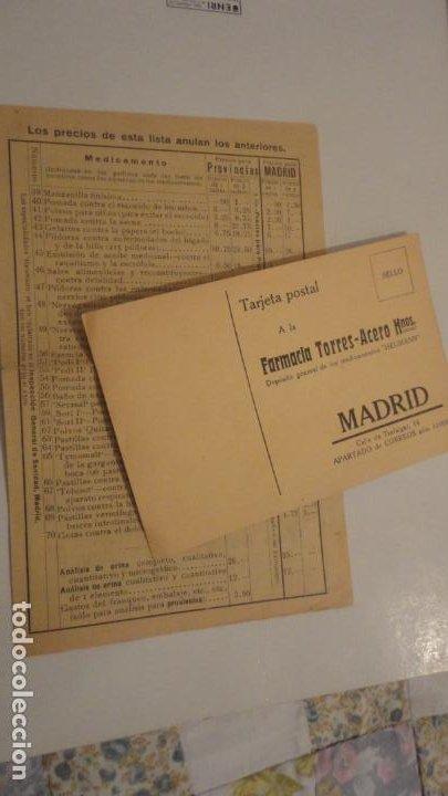 ANTIGUA TARJETA POSTAL Y LISTADO DE PRECIOS.FARMACIA TORRES-ACERO HNOS.MEDICAMENTOS HEUMANN.MADRID (Coleccionismo - Documentos - Otros documentos)